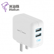 米竞博官网JBO55 U203 双USB充电器 3C认证 5V/2.4A